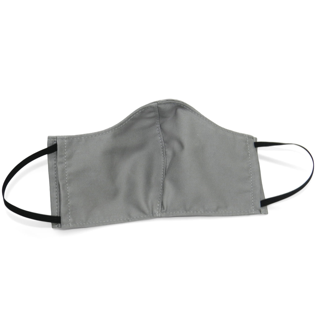 Women's Shaped Mask with Filter Pocket in Grey Cotton Twill