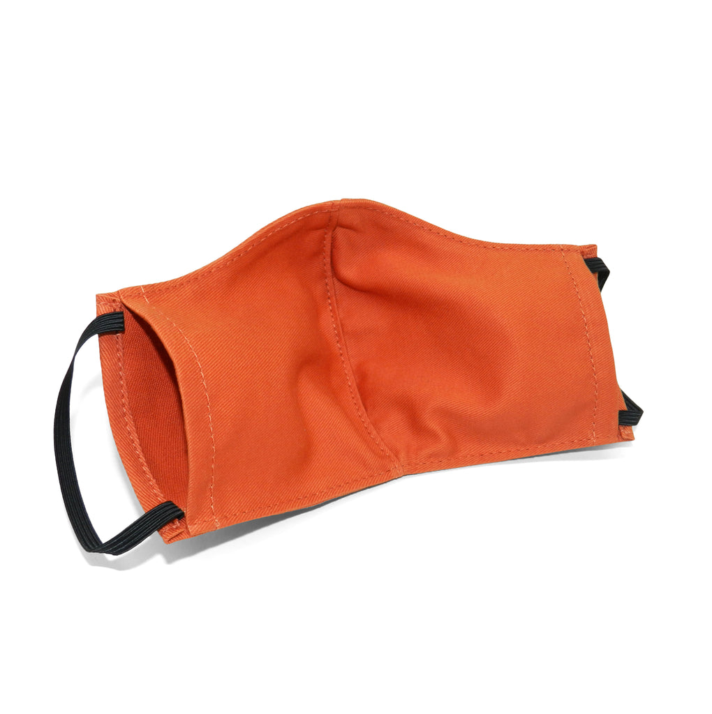 Men's Shaped Mask with Filter Pocket in Orange Cotton Twill