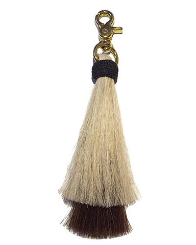 blonde/ brown double bell horse hair tassel on brass clip
