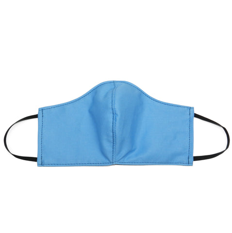 Women's Shaped Mask with Filter Pocket in Light Blue Cotton Twill