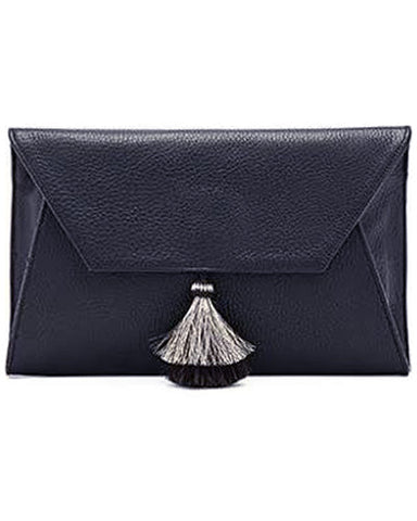 cleo envelope clutch in navy cow leather with horsehair tassel