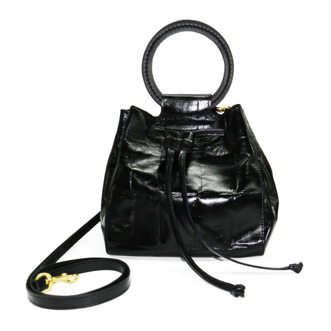 Carmella Drawstring in Black Grande Croco Leather