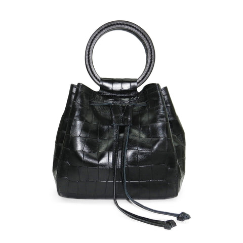 Carmella Drawstring in Black Piccolo Croco Leather