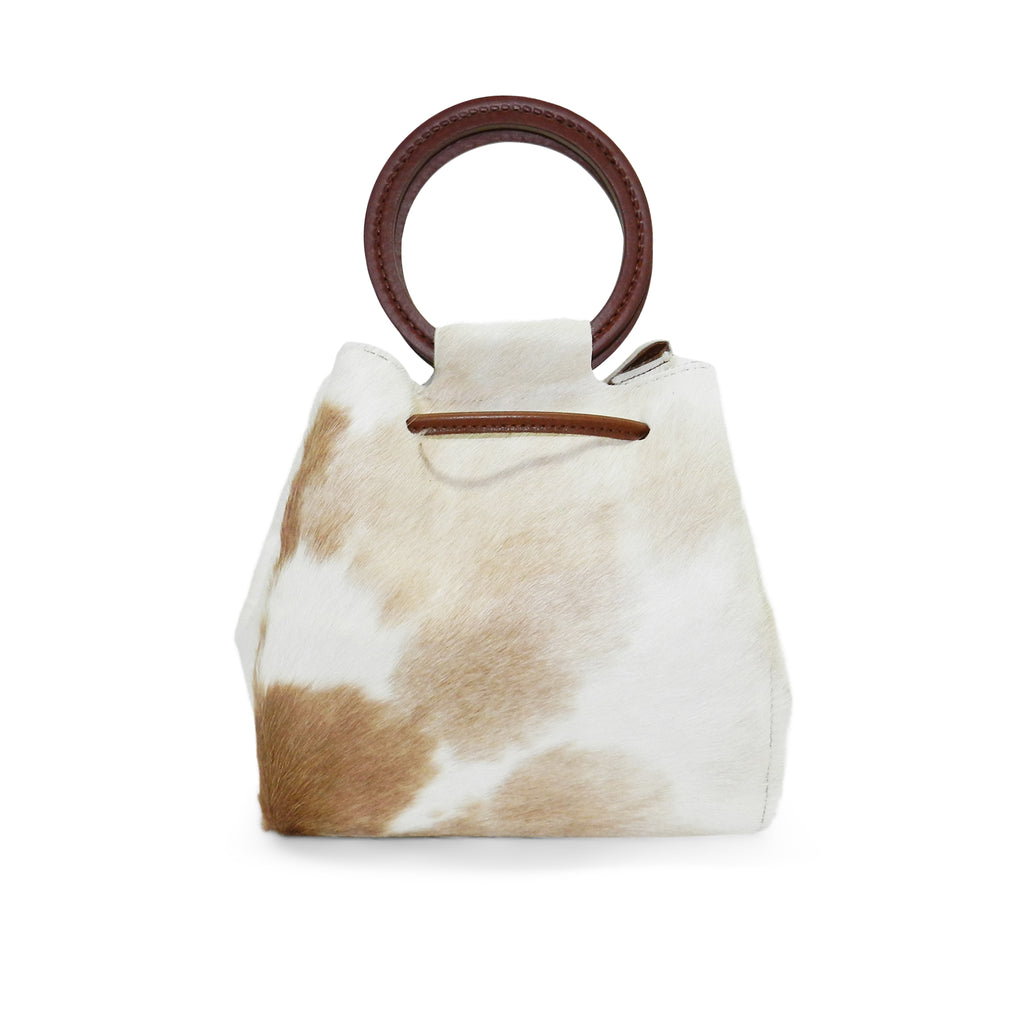 Carmella Drawstring in Brown & White Natural Haircalf