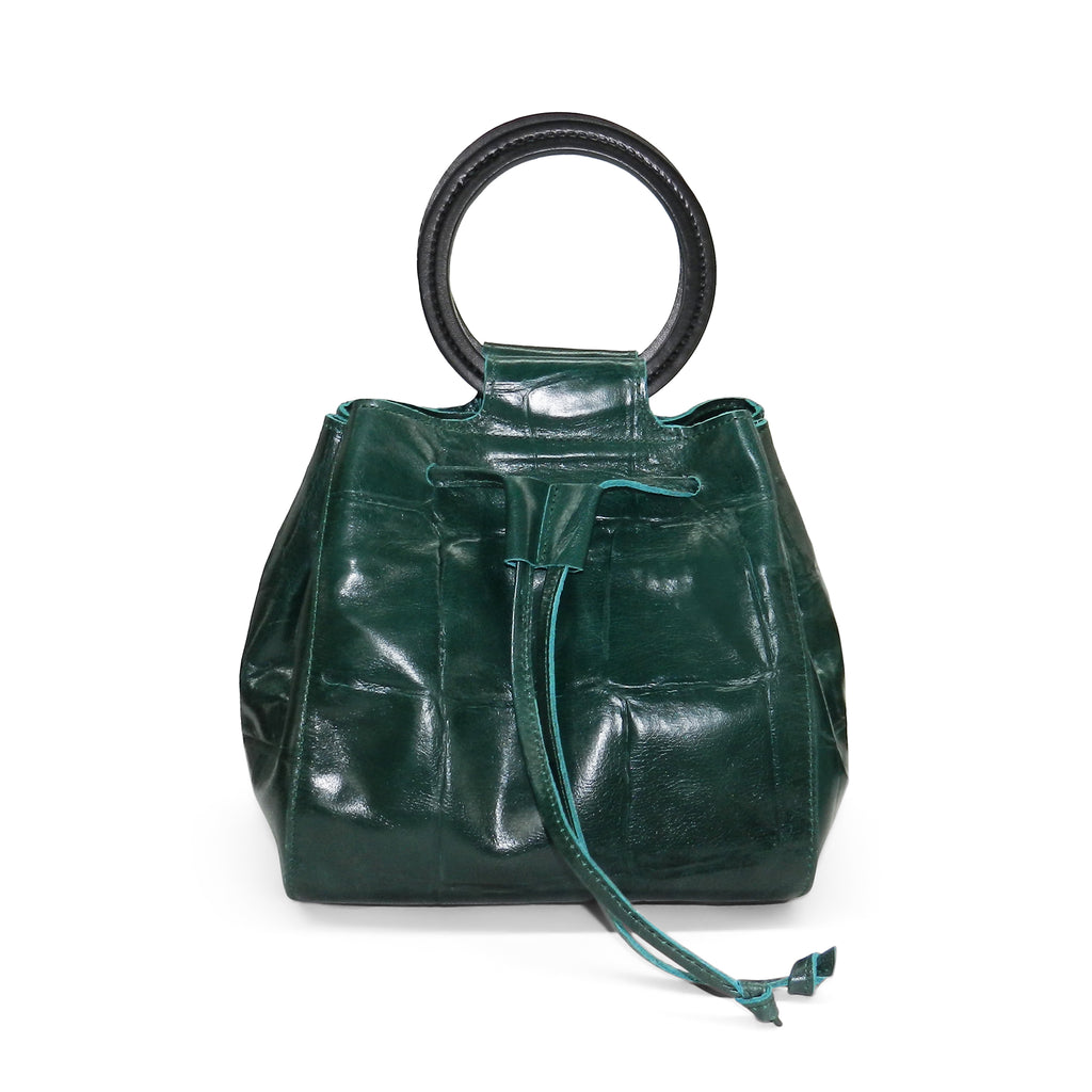 Carmella Drawstring in Emerald Grande Croco Leather