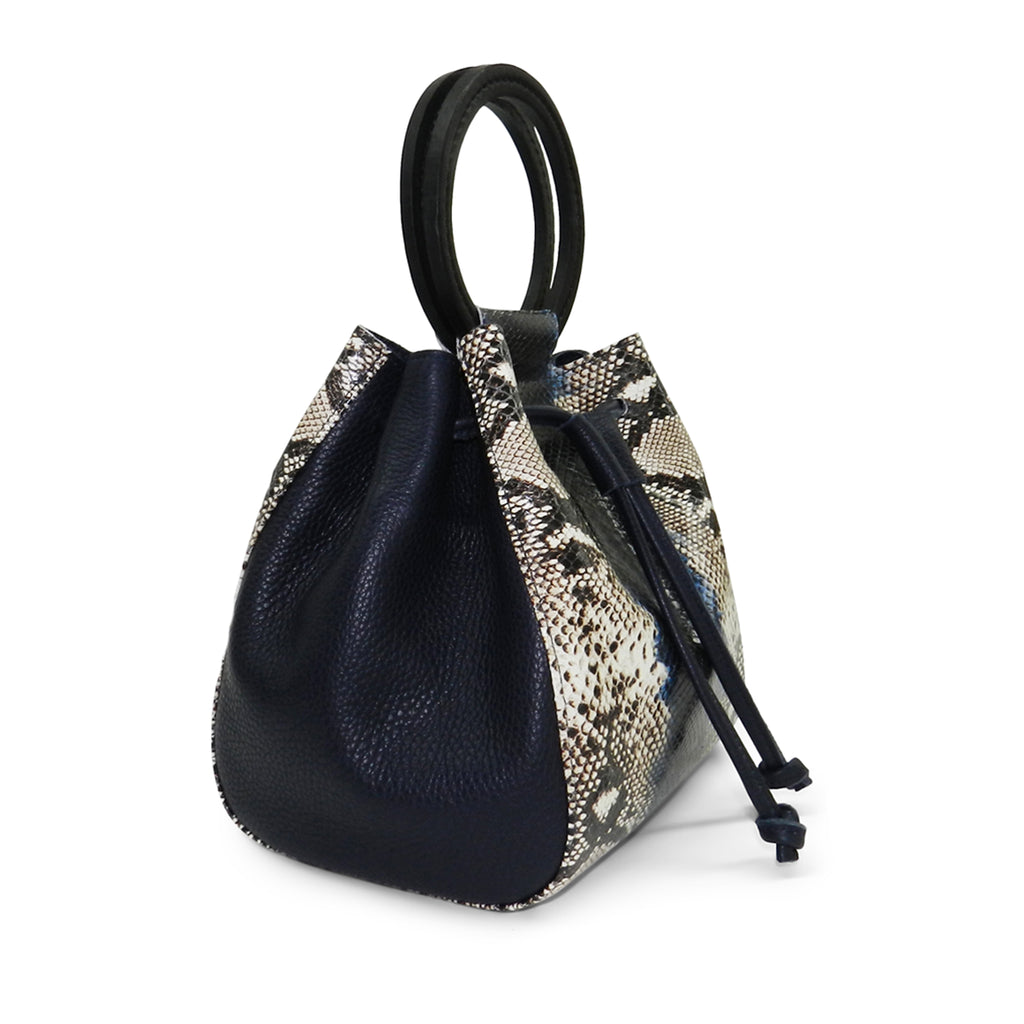 Carmella Drawstring in Indigo Snake Leather