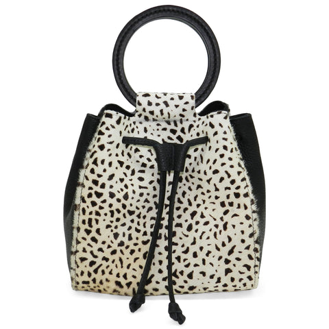 carmella drawstring in mini giraffe haircalf & black pebble leather