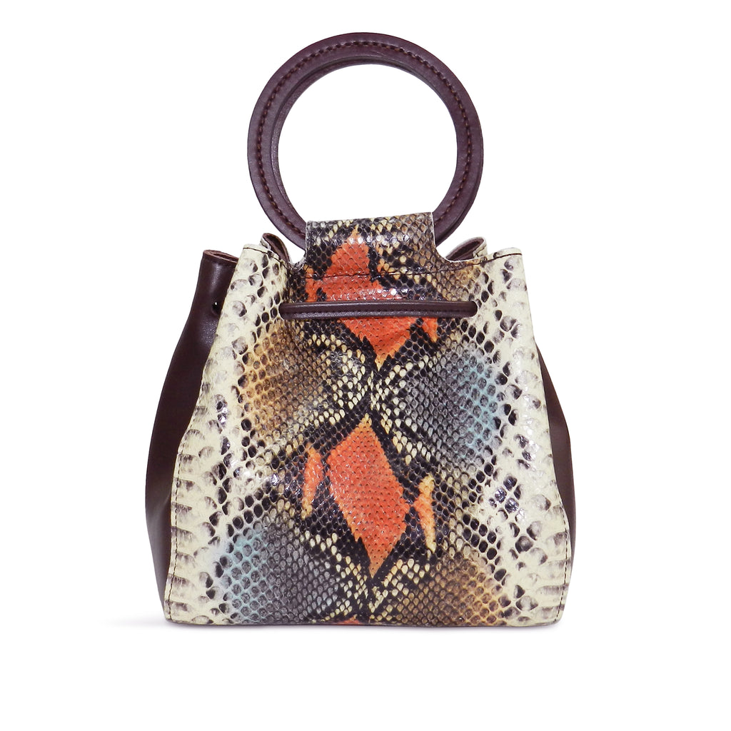 Carmella Drawstring in Harvest Snake Leather
