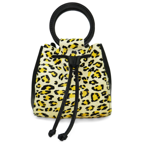 carmella drawstring in citron leopard haircalf & black pebble leather