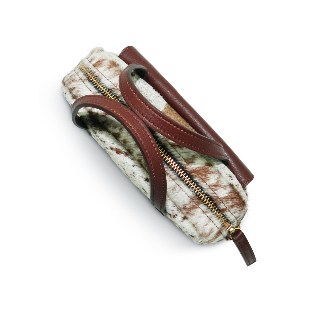 Cora Camera Crossbody in Brown & White Natural Hair