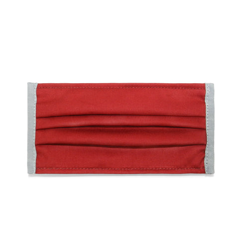 Pleated Cotton Twill Mask in Deep Red