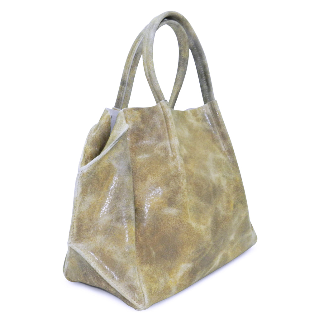 zoe tote in ivory distressed cowhide leather