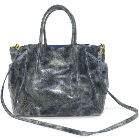 zoe tote in navy distressed cowhide leather