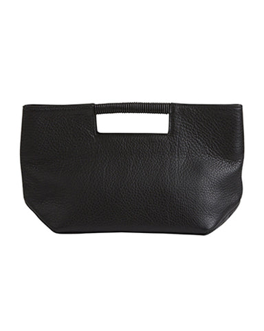 ella wrap handle clutch in black pebble cow leather