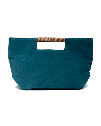 ella wrap handle clutch in teal suede leather