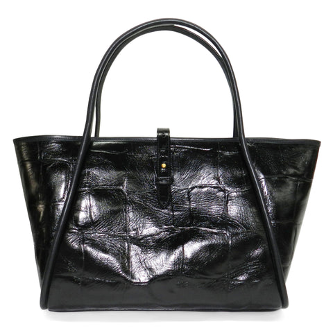 Edie Tote in Black Grande Croco Leather
