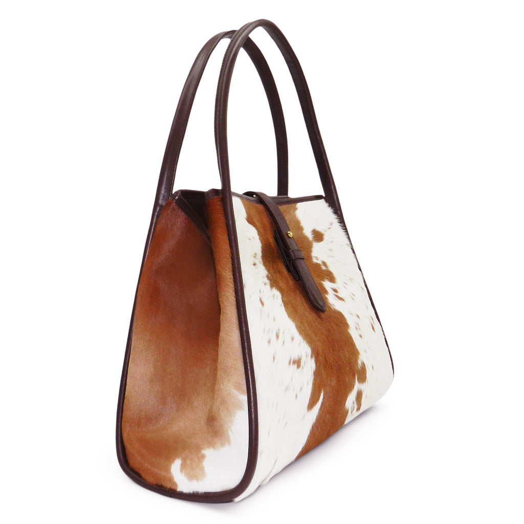 Edie Tote in Brown & White Natural Haircalf