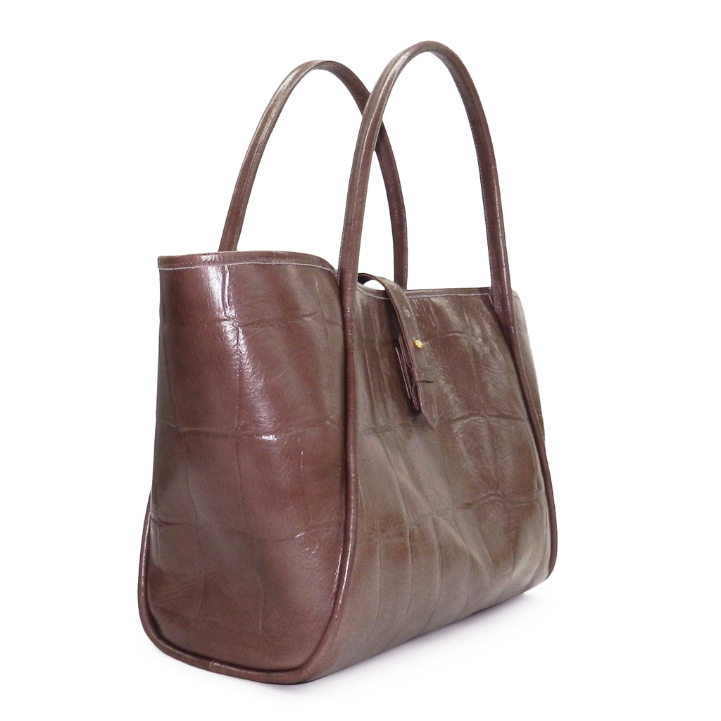 Edie Tote in Taupe Grande Croco Leather