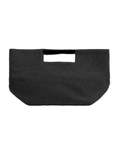 ella wrap handle clutch in black suede leather