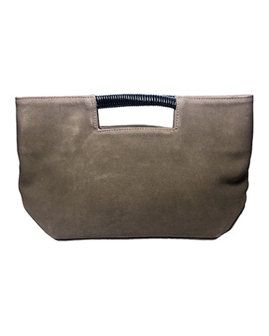 ella wrap handle clutch in olive suede leather
