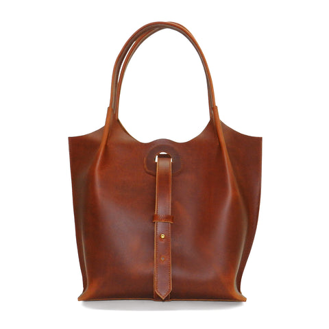 Eva Tote in Antique Tan Oil Tanned Cowhide Leather