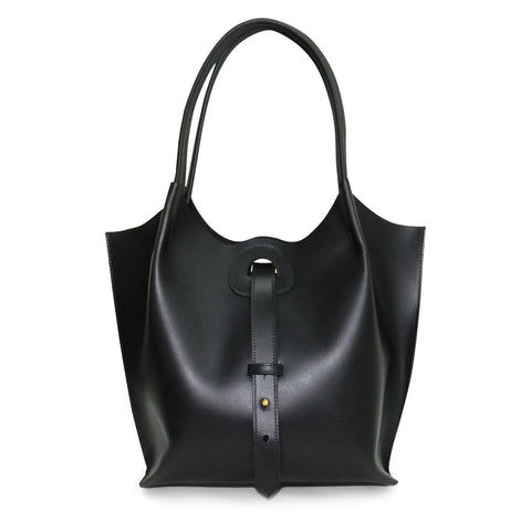 Eva Tote in Black Oil Tanned Cowhide Leather