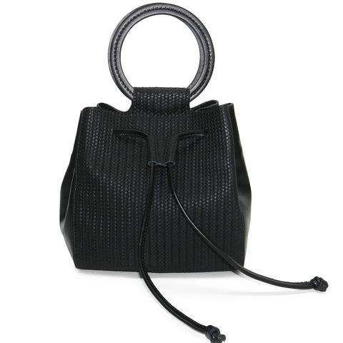 carmella drawstring in black woven & smooth leather