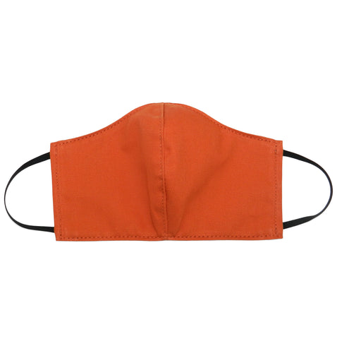 Women's Shaped Mask with Filter Pocket in Orange Cotton Twill