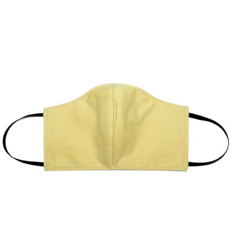 Women's Shaped Mask with Filter Pocket in Soft Yellow Cotton Twill