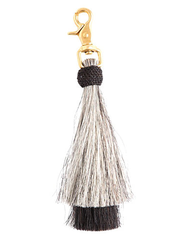 grey/black double bell horse hair tassel on brass clip