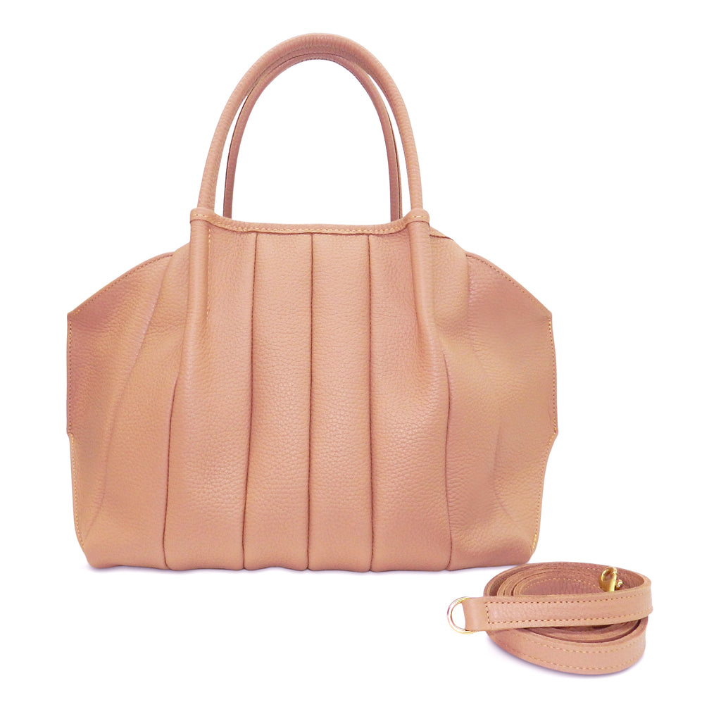 Pleated Zoe Tote in Gaucho Buffalo Cowhide