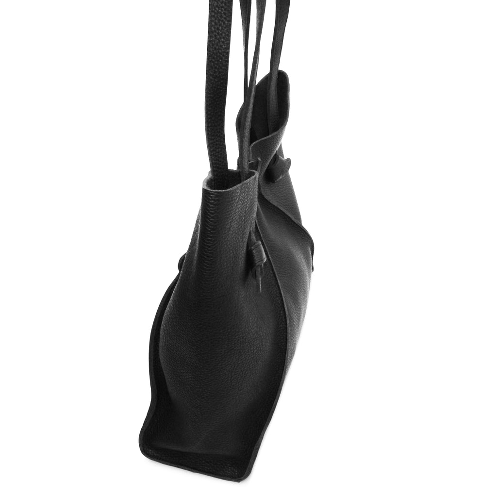 Gemma North South Tote in Black Buffalo Cowhide