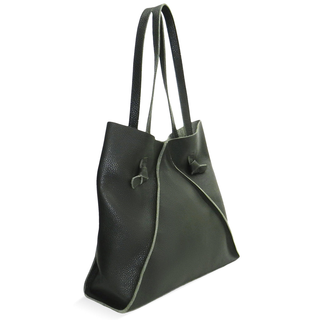 Gemma North South Tote in Forest Pebble Cowhide
