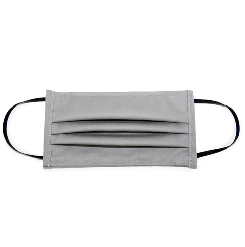 Pleated Cotton Twill Mask in Grey