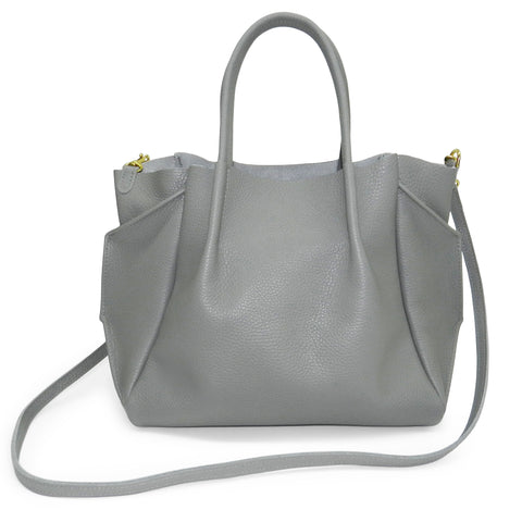 Zoe Tote in Grey Pebble Cowhide Leather
