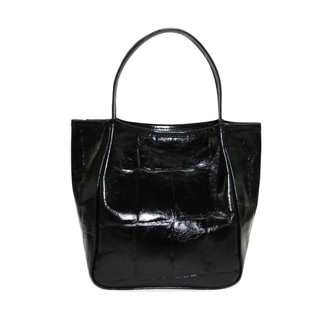 Harper Top Handle in Black Grande Croco Cowhide Leather