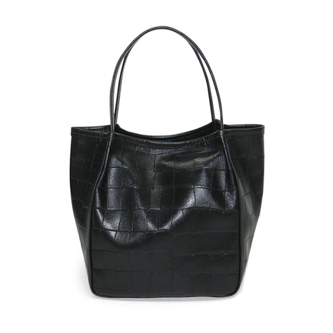 Harper Top Handle in Black Piccolo Croco Leather