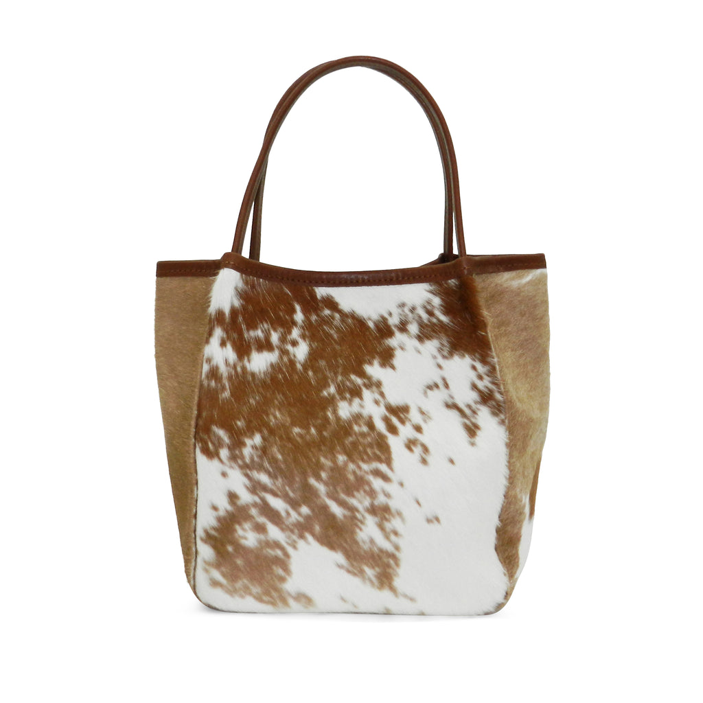 Harper Top Handle in Brown & White Natural Haircalf- email for restock!
