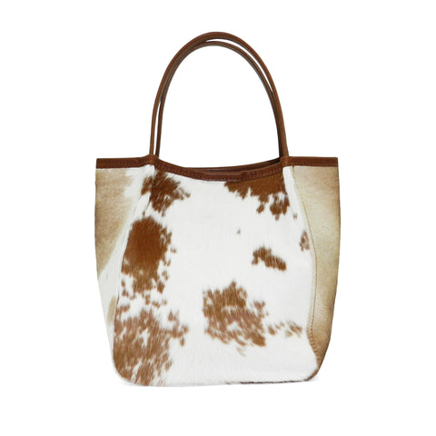 Harper Top Handle in Brown & White Natural Haircalf