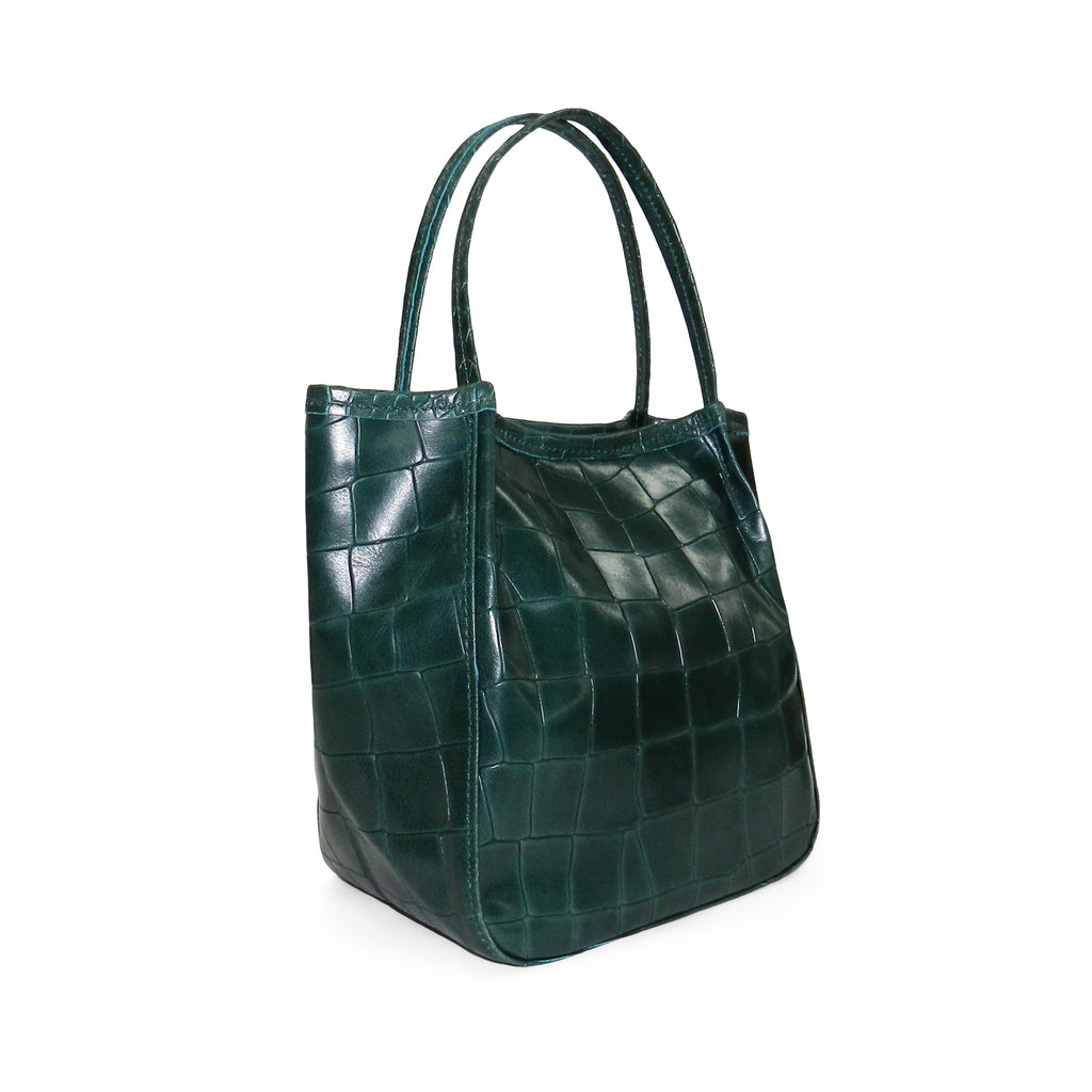 Harper Top Handle in Emerald Piccolo Croco Cowhide Leather