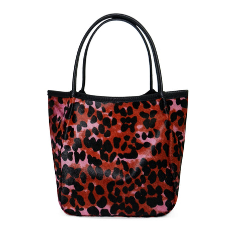 Harper Top Handle in Pink Multi Leopard Hair