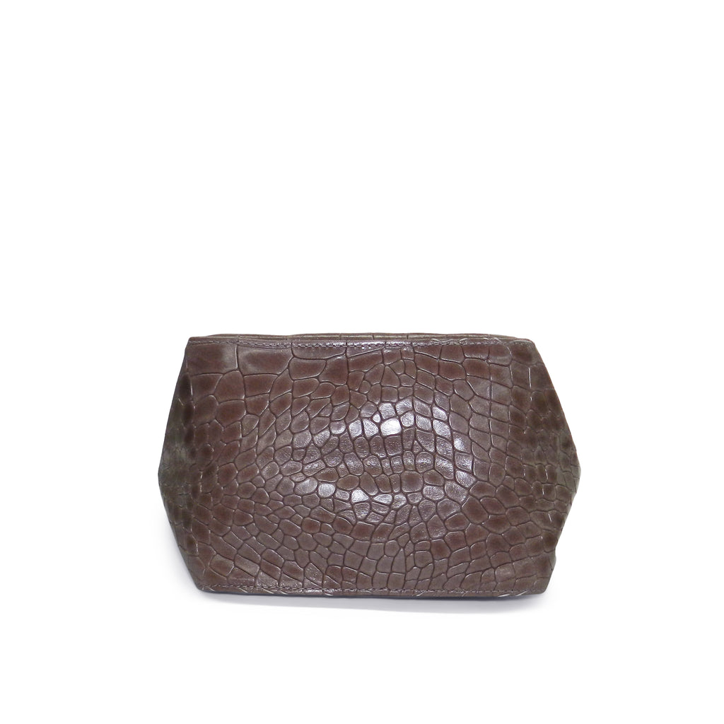 Harper Top Handle in Taupe Piccolo Croco Cowhide Leather