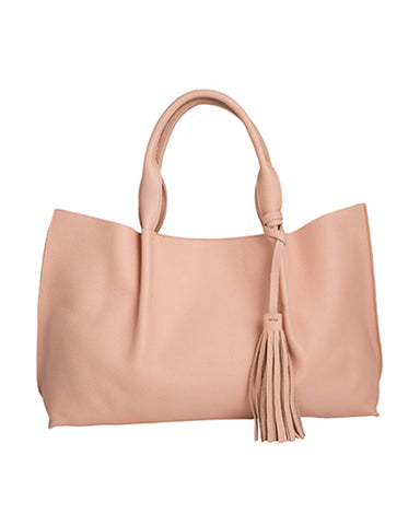 Isabel tote in pink pebble leather with leather tassel