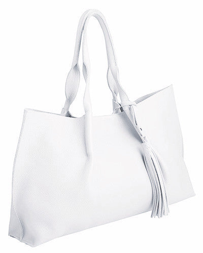 isabel tote in white pebble leather with leather tassel