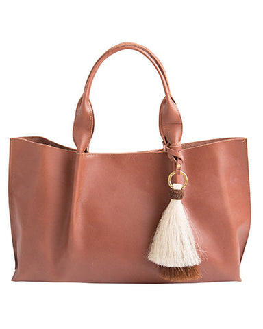 isabel tote in chestnut saddle leather with double horsehair tassel