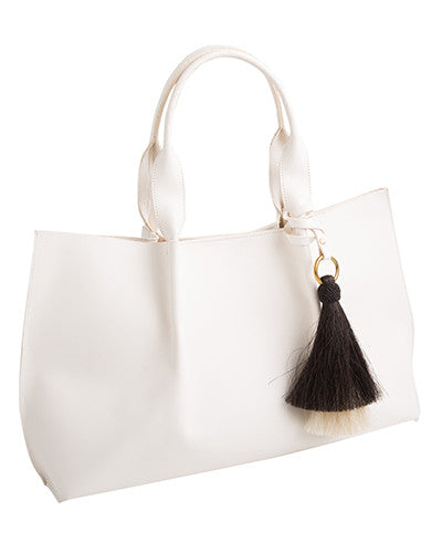 isabel tote in white saddle leather with double horsehair tassel