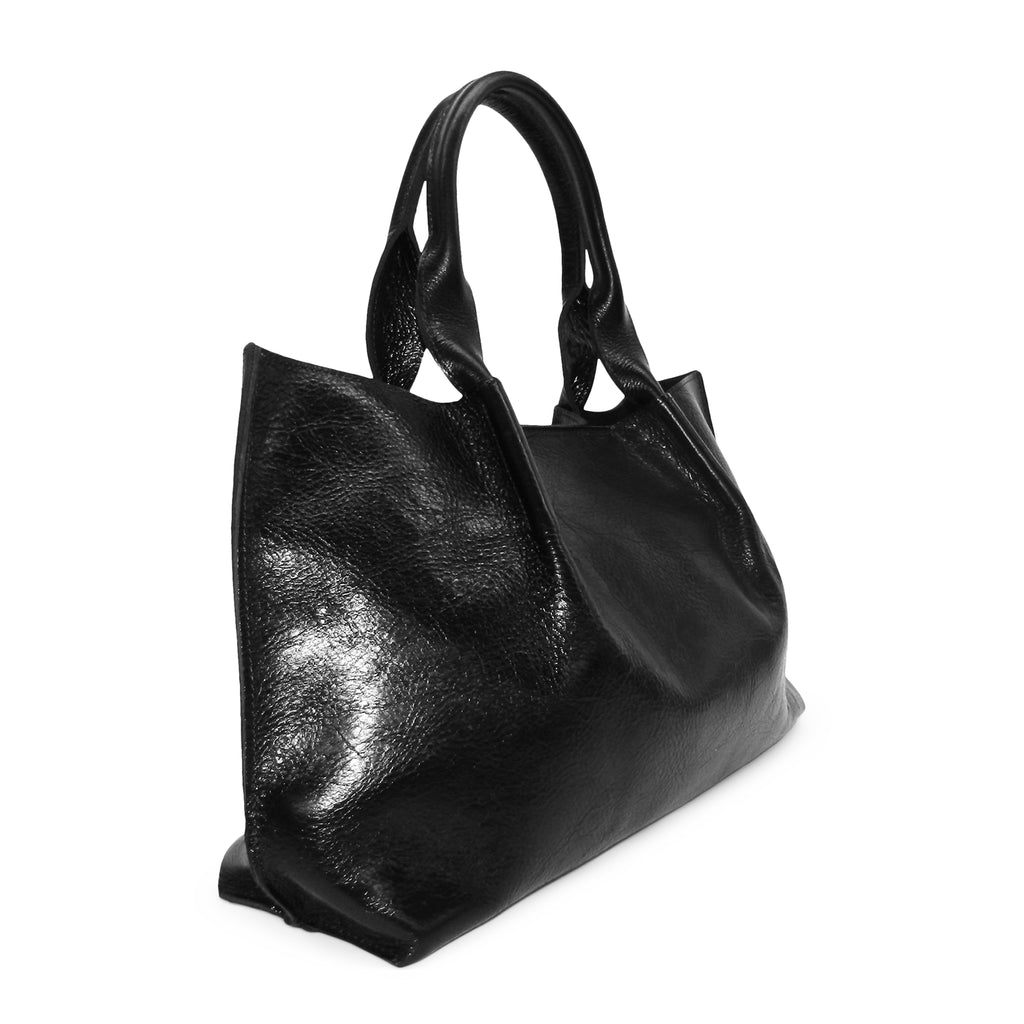 Isabel East West Tote in Black Rodeo Cowhide