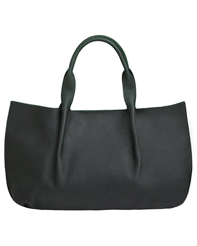 isabel tote in black buffalo leather with double horsehair tassel
