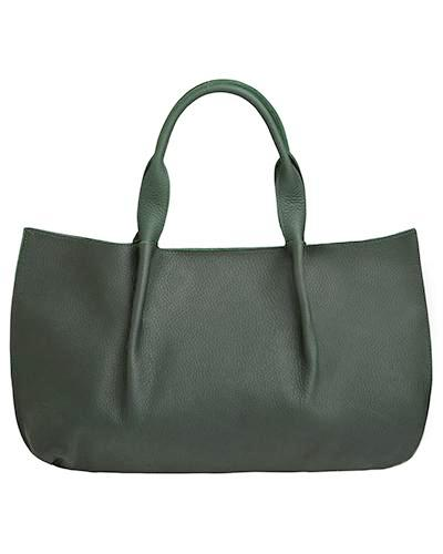 isabel tote in loden buffalo leather with double horsehair tassel