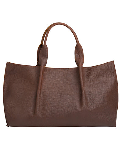 isabel tote in brown buffalo leather with double horsehair tassel